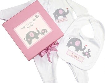 Personalised Newborn Baby Clothes Gift Set and Gift Box