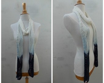 White cotton scarf, summer scarf, knit scarf, lace card, dip dye scarf, navy scarf,  spring fashion, bulky cotton scarf, thin scarf, narrow