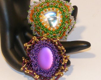 2 Brooches to Choose From - Orange/Green w/Center Crystal AB OR Grape Lunasoft, Beaded Brooch, Old Fashioned, Business Attire, Grandmother