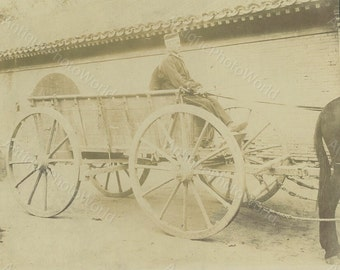German soldier on military horse carriage antique photo