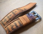 N80 Leather Historic WWII Rust Canvas Leather Watch Strap