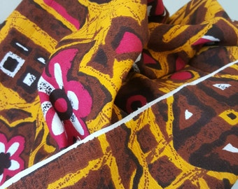 """1970's Vintage Tropical Hawaiian Tiki Print Cotton Fabric from JcPenney - 3 yards by 44"""" wide Orange Brown Magenta White and Dark Brown"""