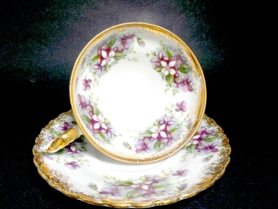Teacup and Saucer Set, Royal Sealy Japan, Hand Painted, Purple Violets, African Violets, Shabby and Chic, Farmhouse Cottage