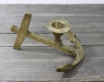 Brass anchor candle holder, anchor candle holder, nautical theme decor