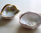 Two Tiny Porcelain Baskets Ring Dish, Place Setting, Easter, Favor