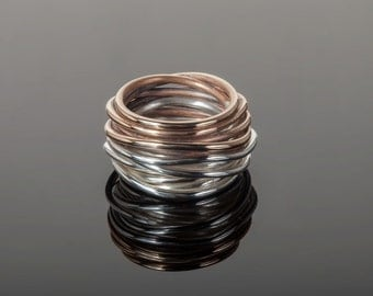 """Bronze and silver """"nest"""" ring"""