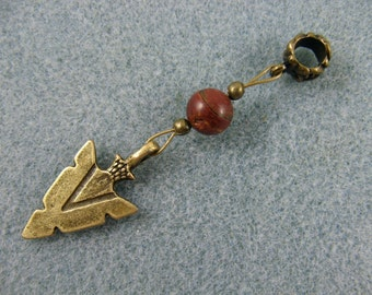 Dreadlock charm dangle with arrowhead and jasper bead