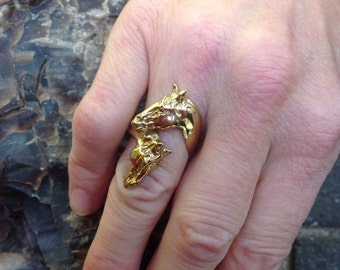 Equestrian jewelry horses ring BRONZE  One size adjusts from 5-8. Zimmer original design