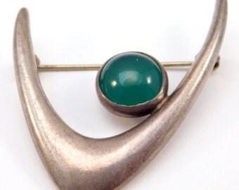Modernist E. Dragsted Silver Denmark Chrysoprase Brooch