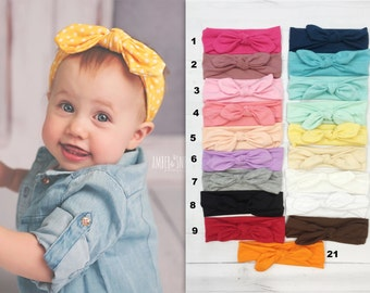 Pick 5 Knotted Baby Headbands, Stretch Jersey knit headbands, baby headband, headband set, newborn headbands, infant headband, hair bow
