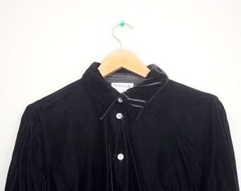 Black Velvet Button Down Shirt