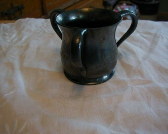 Wonderful March 3, 1903 three handled cup with initial and Quadruple plate on the bottom.  Has not been poshied has original patina.