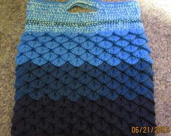 Shades of Blue Crocheted Crocodile Stitch Bag / Tote