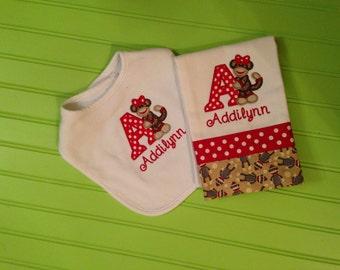 Bib Burp Cloth Set Sock Monkey
