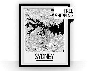 Sydney Map Poster - australia Map Print - Art Deco Series