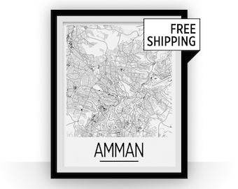 Amman Map Poster - jordan Map Print - Art Deco Series