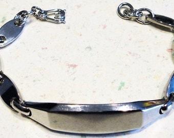Vintage Sterling ID Bracelet Name Tag Arm Candy Retro 1970 J B Sterling Marked  1950's 13.7 Grams
