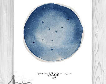 Virgo Art, Virgo Constellation, Zodiac Constellation Print, Star Chart, Astrology Print - Wall Art Poster Print