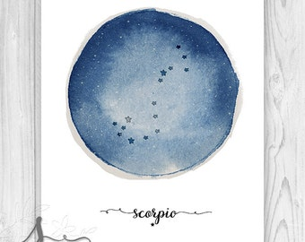 Scorpio Constellation, Zodiac Constellation Print, Star Chart, Astrology Print, Constellation Poster,  Zodiac Art Print