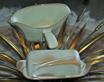 Vintage FRANKOMA Westwind Prairie Green Double Spout Gravy Boat and Covered Butter Dish