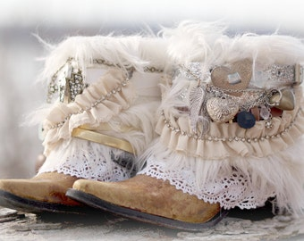 custom bridal upcycled new cowboy boots boho boots wedding boots gypsy boots festival boots leather