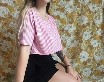 SALE pink and white striped 90s crop top
