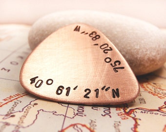Personalized Guitar Pick Copper Plectrum, Hand Stamped GPS Location Coordinates Names Dates Initials, Brushed Pick Men Father Groomsmen Gift