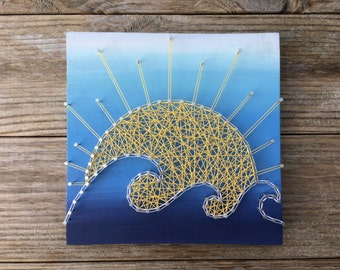Ombré Sun and Waves Handmade Rustic Wood String and Nail Art Sign
