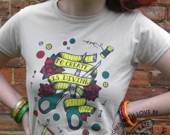 Sewing Craft Old School Tattoo Tee Shirt by Clumsy Kate
