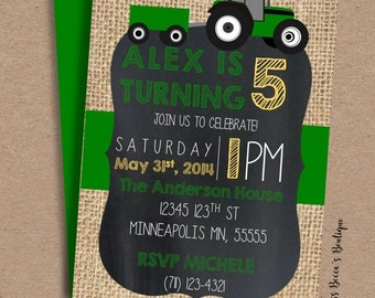 DIY Birthday Party Invitation // Tractor // Farm