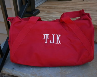 Monogrammed Duffel Bag Red Personalized Overnight Bag