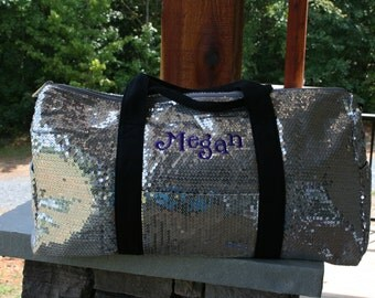 Girls Personalized Silver Sequined Duffel Dance Bag Cheer Bag Gymnastics Duffel