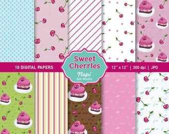 Cherry Digital Paper, Cute Watercolor Cherries Cake Kitchen Paper, Printable Summer Romantic Lines Texture Polka Dots Food Scrapbook Paper