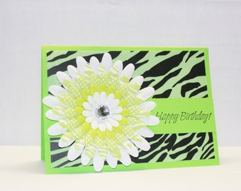 Handmade Card - Teen Girls Birthday Card - Zebra Print Birthday Card -  Green and Black Birthday Card