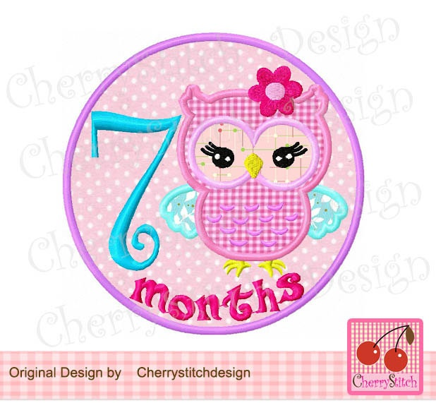 Happy 1 Month Old Baby Girl Quotes: Owl 7 Months Baby Months Embroidery Applique Design 4x4 5x5