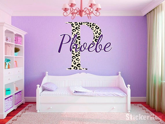 leopard print monogram name girls room vinyl wall decal graphics 22