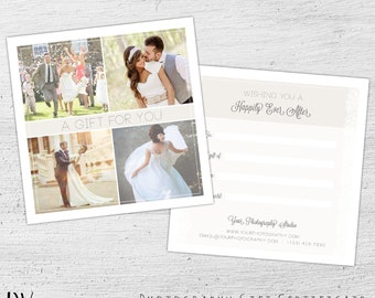 Wedding Gift Card, Photoshop Template, Wedding Photography Marketing, Photographer, Happily Ever After, Gift Certificate - 01-002-GC