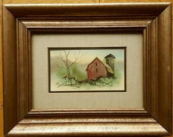 Vintage Rural Scene Original Watercolor Painting by Toni Dane