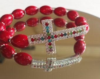 Gemmed Cross Bracelet, Religious Bracelet, Cross Bracelet, Religion, Religious Jewellery, Religious Jewelery, Gift Ideas, Crosses,