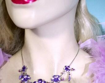 Bridesmaid Prom Jewelry Necklace Earring Set Purple Rhinestone Crystal