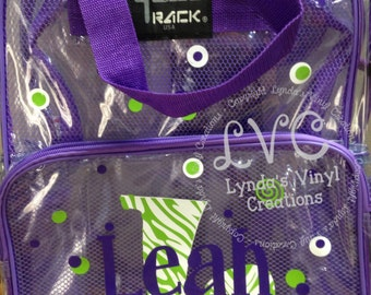 Name and Initial Personalized Clear Backpack