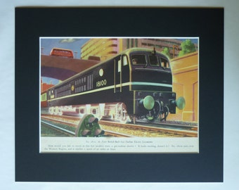 1950s Vintage Print of British Rail 18100, Available Framed, Train Art, Old Gas Turbine Electric Locomotive Decor Great Western Railway Gift