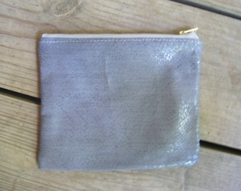Zip Pouch in Gray Snakeskin (Small)
