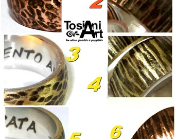 Personalized text ring in silver and brass or copper