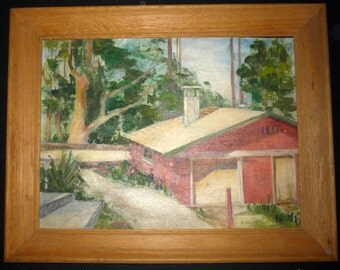 1961 Riverside California Art Center Building Framed Oil Painting Backstrand Ca
