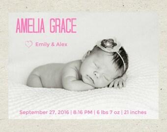 Baby Birth Announcement - Personalized birth announcement - Custom birth announcement - newborn birth announcement - photo announcement