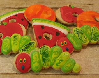 Hungry Caterpillar decorated sugar cookies