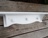 WALL SHELF - Vintage Wood Ornate - Shabby Chic Shelves - Cottage White Distressed Finish -  Accent Shelf - Baby Nursery