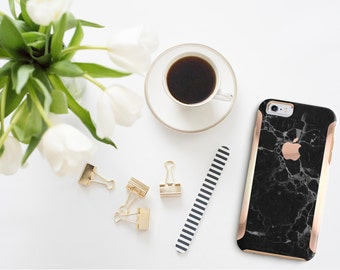 Platinum Edition Black Marble with Rose Gold Accents Hybrid Hard Case Otterbox Symmetry iPhone 6 / iPhone 7 / Galaxy S7 / S7 Edge
