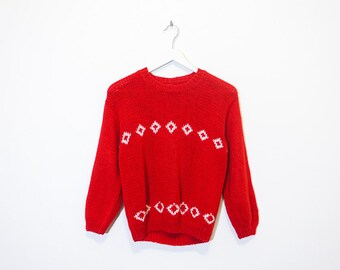 on sale - red handmade cropped knit / 3/4 sleeve diamond sweater / size S / M